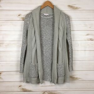 Long sleeve Open Cardigan Cable Knit Front